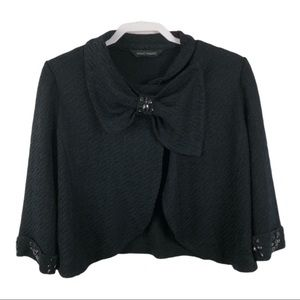 Ming Wang Embellished Acrylic Knit Crop Cardigan